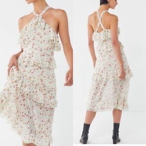 Urban Outfitters Tiered Floral Cross-Back Dress
